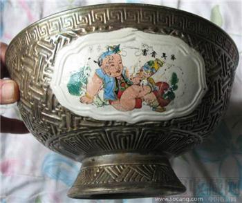 五子戏莲银包瓷大碗已售-收藏网