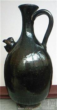黒釉鸡首壶-收藏网