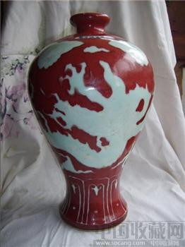 留白龙纹釉里红梅瓶-中国收藏网