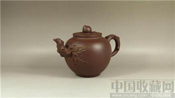 80年代厂货精品-紫泥桃枝壶-收藏网