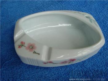 7501毛瓷水点梅花釉下彩烟灰缸-中国收藏网