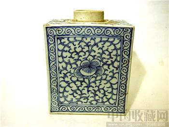 嘉庆--方型青花茶叶罐-收藏网