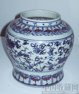 青花釉里红缠枝花卉纹(内外手绘)罐-收藏网