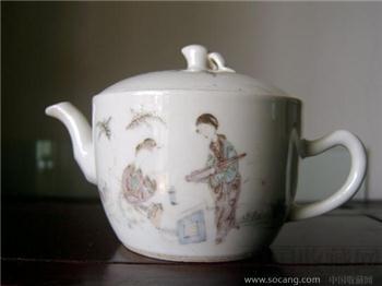 民国余远生款桃花美女携琴访友茶壶 盖碗壶 参汤壶 -中国收藏网