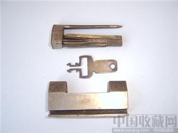 顺兴款白铜锁 特别钥匙及设计稀少的老铜锁 -收藏网