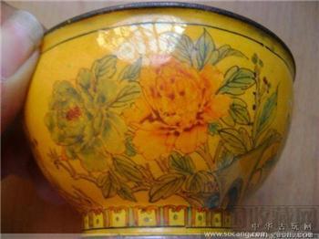 铜胎画花鸟小碗-收藏网