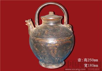 上国际拍品大唐国品顶级酱釉狗首提梁壶-中国收藏网