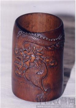 竹 雕 笔 筒-收藏网