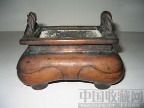 钮绳耳方形四足铜香炉-收藏网