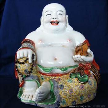 清珐琅彩弥勒佛坐像麻布纹装饰底-收藏网