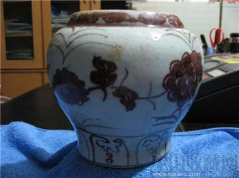 甜白釉里红小坛-中国收藏网