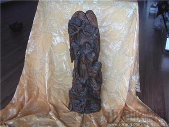 清代黄杨木木雕达摩祖师狮戏摆件 编号3007-收藏网
