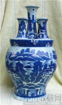 大清嘉道:青花山水纹五管瓶-中国收藏网