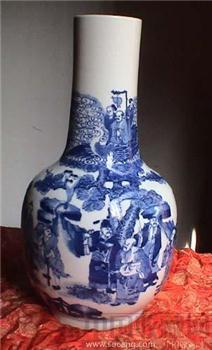 [清康熙]  八仙慶寿纹青花天球瓶-收藏网