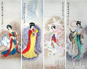 王建秋人物四条屏《四大美女》-收藏网