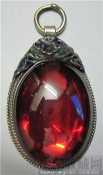 银胎珐琅镶嵌红宝石吊坠-收藏网