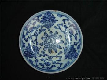 清--青花花卉盘7149-收藏网