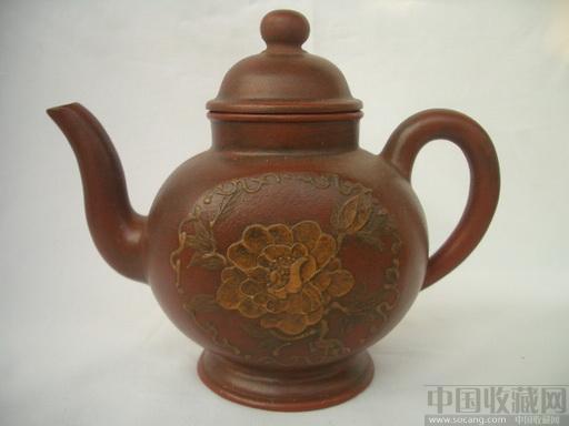 紫砂牡丹花纹老茶壶
