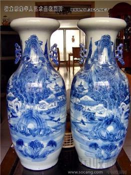清中晚期--青花山水300件大瓶一对-收藏网