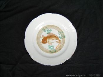 清--釉里红描金鱼草盘7103-收藏网