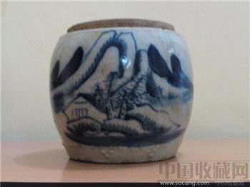 清朝青花罐 口12CM 高15CM 珍藏、增值-收藏网