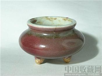 清三代--豇豆红三足香炉-收藏网