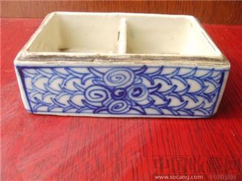 清代青花印泥盒(缺盖)-收藏网
