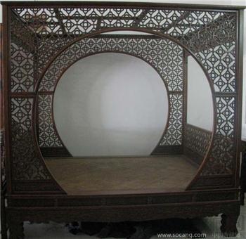 黄花梨月亮门架子床-收藏网