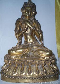 铜鎏金无量菩萨-收藏网
