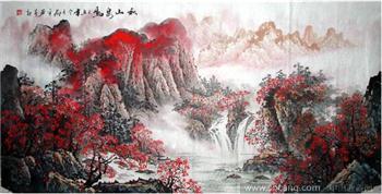 邓平·四尺山水·秋山泉鸣-中国收藏网