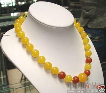 """美丽的中国翡翠珠子项链17""""-收藏网"""