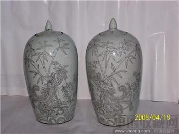 白釉刻花坛(一对)-收藏网