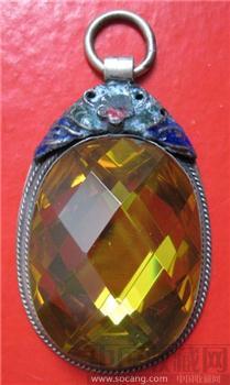 银胎掐丝珐琅镶嵌金黄色蓝宝石-收藏网