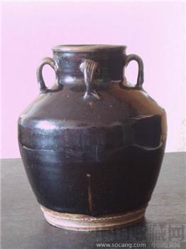 (金)耀州窑黑釉四系罐-收藏网