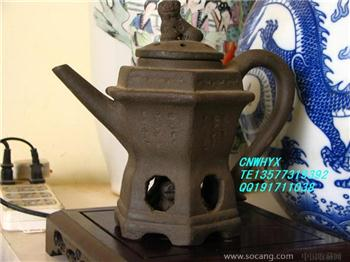 清 华凤祥(翔)大紫砂六方壶-收藏网