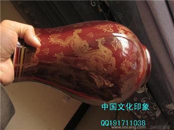 清乾隆霁红釉金彩云龙纹九龙尊-收藏网
