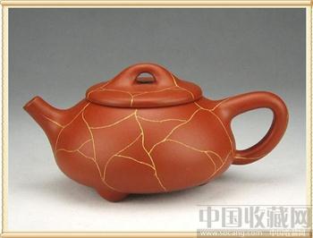 大红袍朱泥冰纹石瓢壶-收藏网