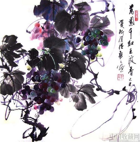 探索着用西画,水彩画与水墨画交融的手法去表现葡萄.-一铺 水彩