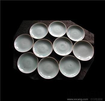 清中期10个全品的豆青釉盘-收藏网
