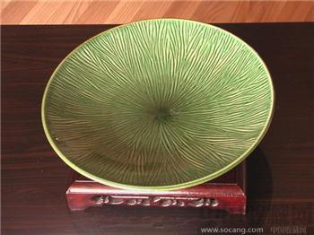 绿釉竹叶大盘-收藏网
