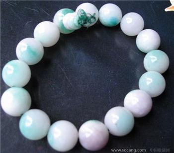 紫绿白三色翠手珠-收藏网