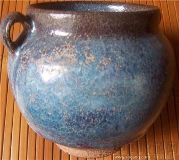 蓝色钧瓷窑变双系香炉已售-收藏网