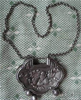 银白铜长命富贵锁-收藏网