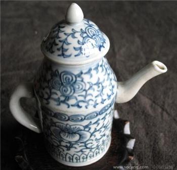 清中-青花缠枝莲壶  -收藏网
