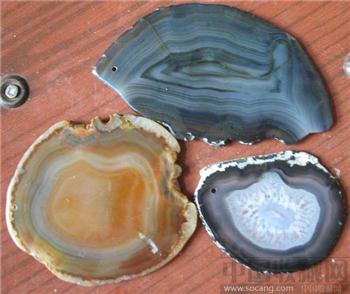 三片玛瑙原石-收藏网