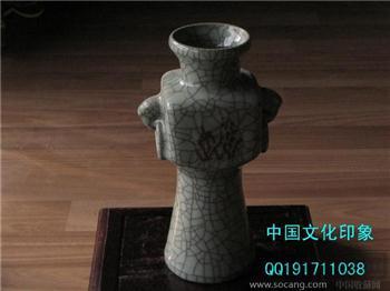 清仿宋官窑象耳双系尊 冲关5鼎还不快抢?-收藏网