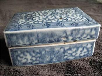 清中期青花缠枝印盒-中国收藏网