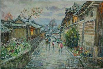 朝鲜油画 - 下雨天街道-收藏网