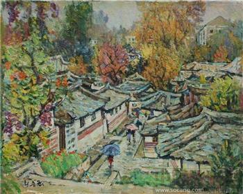 朝鲜油画 - 下雨天的道路-收藏网