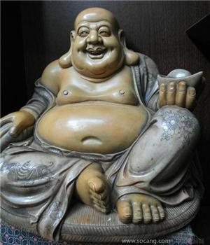 老寿山石雕 弥勒佛-收藏网